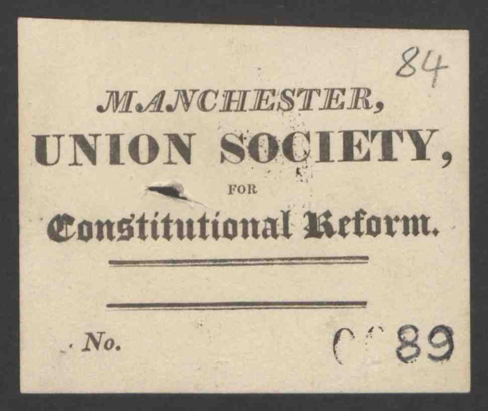 Manchester union society ticket, 1817