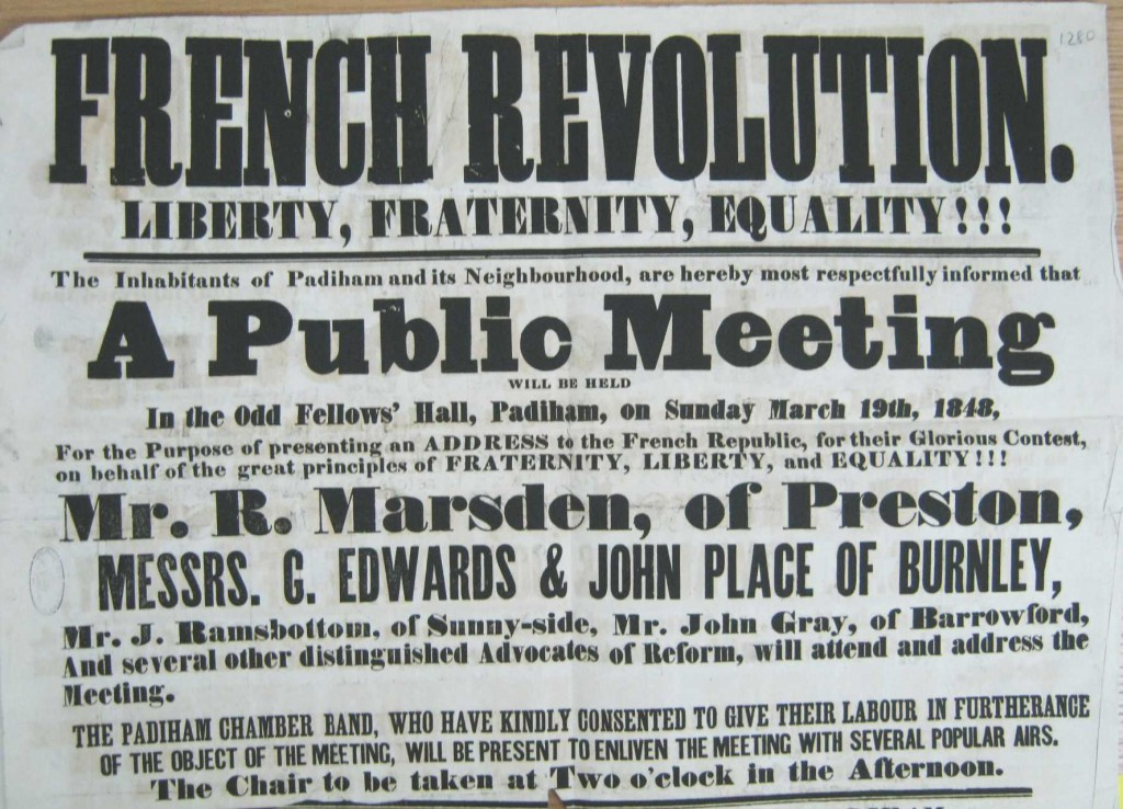 Padiham poster 1848