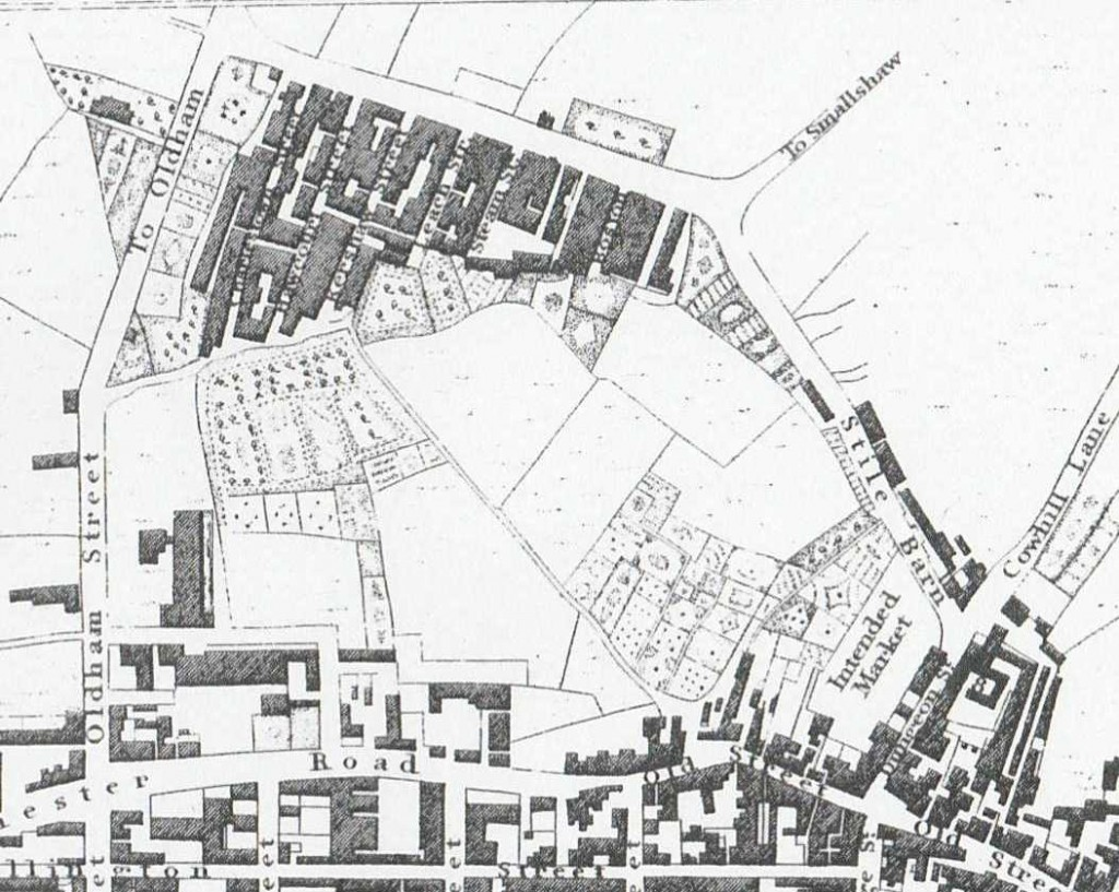 Ashton-under-Lyne and Charlestown, Baines' map, 1824