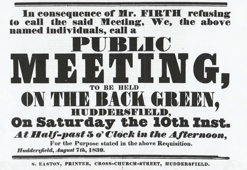 poster, Huddersfield, 1839