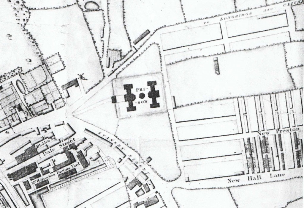 extract from Shakesheff's map of Preston, showing the Horrocks' factory and 'new Preston'